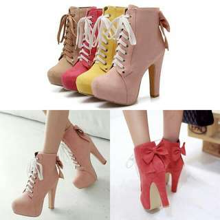 Ribbon Ankle High Heel Boost