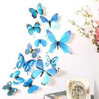 Stiker Dinding 3 D motif kupu - kupu warna warni