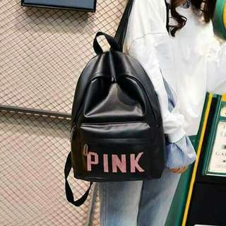 Pink leather bagpack 😍