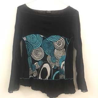 Roxanne black with swirl patterned bodice long sleeve top
