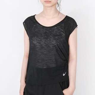 Authentic NIKE Runner Capped Sleeve Black Breathe Dryfit Top