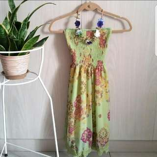 Green Floral Vacation Dress💐