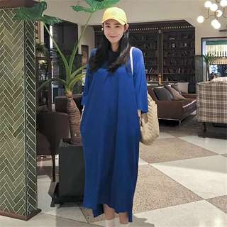 Plus Size 2018 summer casual simple solid loose long T-shirt skirt dress