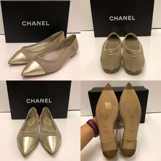 New Chanel pointed flat shoes size 35.5C
