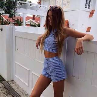 BNWOT Blue and white matching set crop and shorts