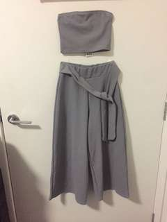 Grey bandeau and pant co ord