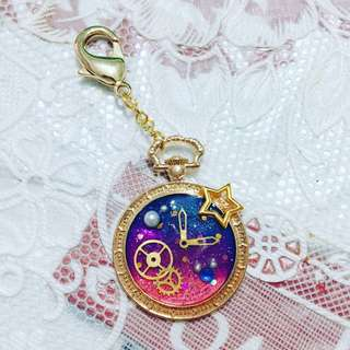 Galaxy Alice in Wonderland inspired pocketwatch charm [Handmade]
