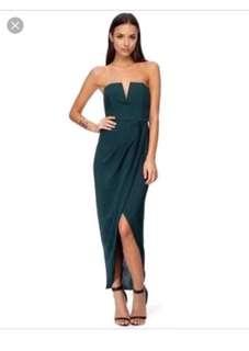 Shona joy keystone silk midi dress size 6 in bottle green