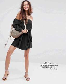 OS DRESS  💋Elasticized Off Shoulder Dress 💫Woolen cotton fabric, soft stretch 💫Garter waist with drawstring 💫Free size fits up to L 💫Good quality  Price : 350