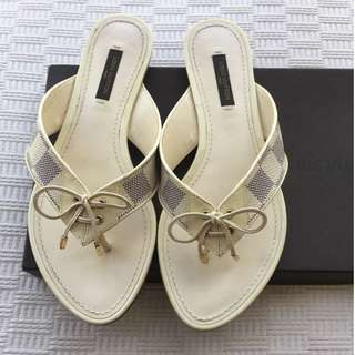 LV Louis Vuitton  leather flats sandals shoes  *Made in Italy  **Size : 36 (fit for 36-1/2 to 37)