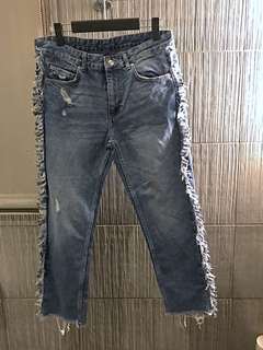 Pull & Bear Frayed Seam Jeans