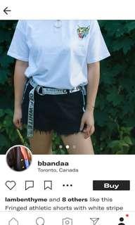 Black + White Stripe Raw Fringed Hem Shorts