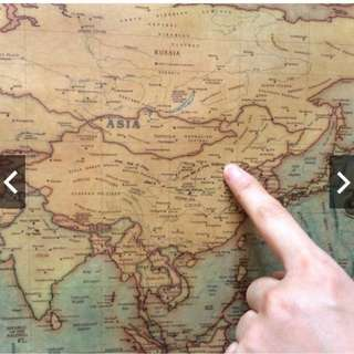 Size 76x 32cm World Map Kraft Paper Paint Wall  Poster