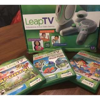 LeapTV Console with 3 game cartridges