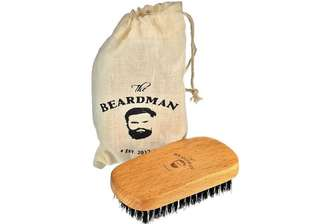 [IN-STOCK] The Beardman Beard & Hair Brush , Bamboo Beachwood with Soft Boar Bristles with Muslin Style Cotton Gift Bag , Best Gift For Your Man (Soft)