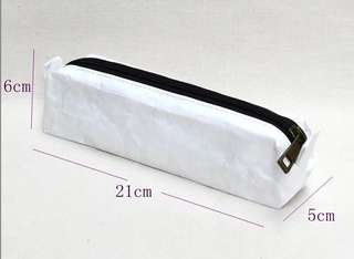 White reinforced paper pencil case pouch