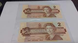 加拿大 1986年 連號 2元