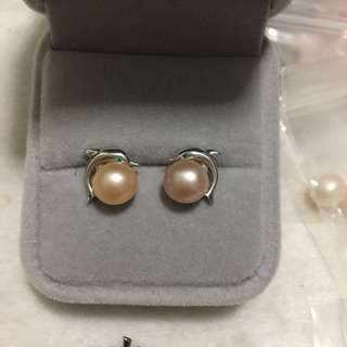 天然淡水珍珠s925純銀海豚耳環