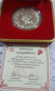 Coin Singapore 1988 $10 silver proof coin year of dragon