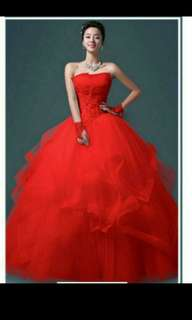 Red wedding bridal gown