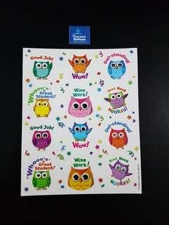 [INSTOCK] BN Colourful Owls Motivational Stickers (Carson Dellosa)