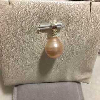 天然淡水珍珠s925純銀螺紋吊墜