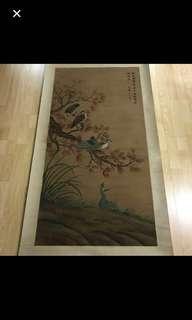 {Collectibles Item - Ink Painting} 現代画家(江苏太仓国画家)Modern Chinese Painter - Ink Painting On Silk -【花鳥圖】 軸画長7尺(208cm) 寛2尺7寸(78cm) 宋文治(1919-1999),现代画家。江苏太仓人。早年从張石园学习山水,后得陆俨少指授并拜吴湖帆为师。1951年入江苏省国画院受傅抱石影响,致力于山水画创新。曾任南京大学教授、江苏美协副主席、江苏省国画院副院长等职。