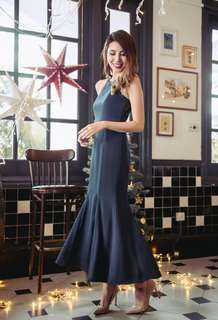 Sonnet To A Mermaid Lace Back Dress (Navy) - BRAND NEW W TAG