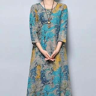 Ladies Linen Dress With Floral Motifs