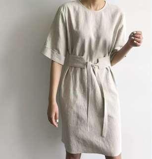 Korean simple style waist belt short-sleeved dress