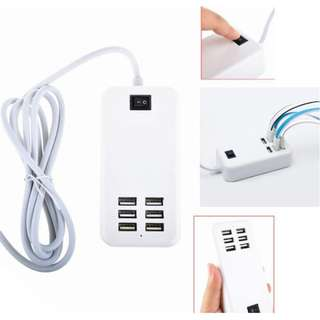 6 port USB Charger Power Adapter 6A 30W Android iphone