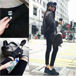 NEW! Pure Black Slim Hole Women Jean