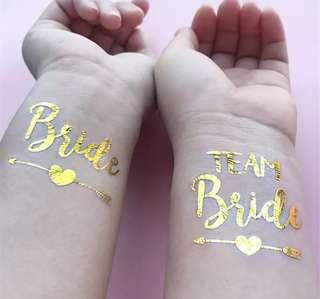 Bride Team Bride Temporary Tattoo Gold