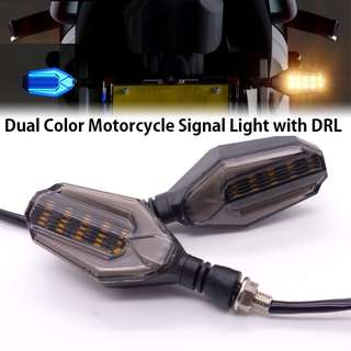 Motorcycle Turn Signal Indicator Dual Color 2in1 LED DRL Light White/Yellow Universal