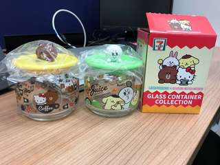 WTT 7-11 Line Friends x Sanrio Characters glass container