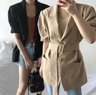 Summer Korean retro solid color belt thin short-sleeved shirt jacket