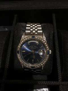 West end swiss mens watch sapphire and cz studded case oyster perpetual
