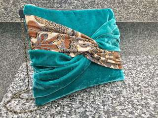 Hand-made Turquoise Velvet and Batik Clutch