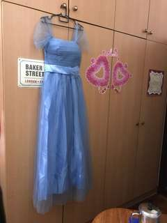 Dinner gown bridesmaid dress dusty blue off shoulder