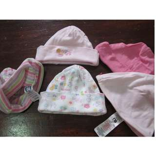 Set of 5 baby bonnets - gerber mothercare