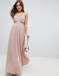 PROM/BRIDESMAID/FORMAL DRESS/ ASOS Side Cut Out Maxi Dress with Cami Straps/ Size 6