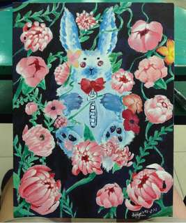 Rabbit with flowers acrylic painting