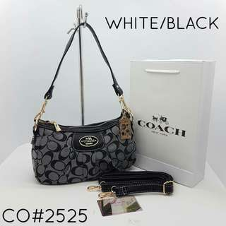 Coach Handbag White Black Color
