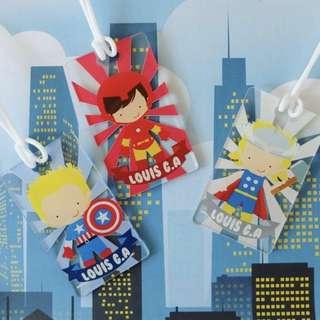 CUSTOM BAGTAG superheroes thor iron man captain america
