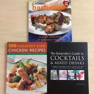 🍗Delicious Barbecue + 500 Greatest Ever Chicken + The Bartender's Guide To Cocktails & Mixed Drinks Cook/ Cooking/ Recipe Book🍸