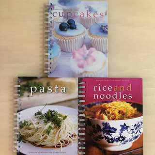 🍚PR BOOKS🍝 Cupcakes + Pasta + Rice & Noodles Hard Cover Cook/ Cooking/ Recipe Book