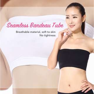 BNWT Seamless Bandeau Tube Top in Black ❤ Breathable Material! Strapless, stretchable with removable padding