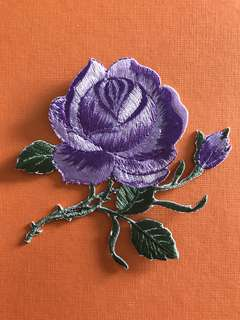 Bn purple rose iron on patch