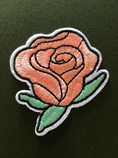 Bn rose Embroidered sew/iron on patch