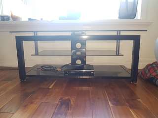 Glass and Gloss Black TV Stand